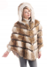 Russian Wolf Hooded Faux Fur Cape - XL / Gold Taupe and Ivory