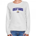 Albany Great Danes Ladies White Logo Arch Long Sleeve Classic Fit T-shirt-